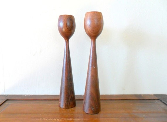 vintage mid century danish modern wood candle sticks - mid mod - teak - brown