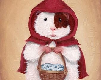 Guinea Pig Little Red Riding Hood - Children's Room Decor Guinea Pig Art Print