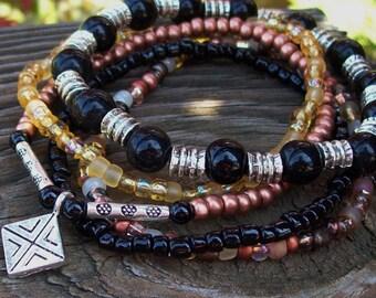 Protector - Black Onyx Gemstone Beaded Bracelet, Czech glass Stretch Bracelets, beaded stack bracelets, Tribal Gypsy bracelets