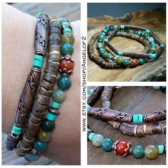 Fancy Jasper, Turquoise, and Copper OOAK Bracelet Stacks-  Boho Stacker Stretch Bracelets                                         -