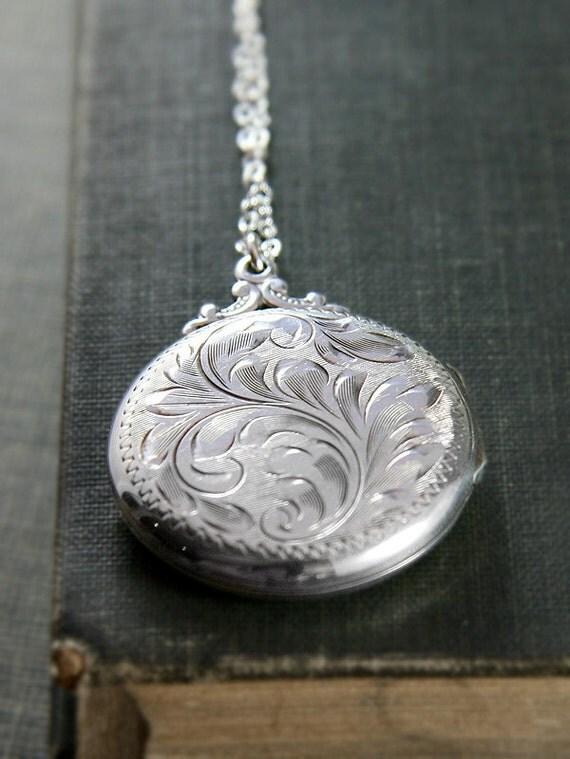 Large Round Sterling Silver Locket Necklace, Romantic Vintage Birk's Pendant - Cherishing Family