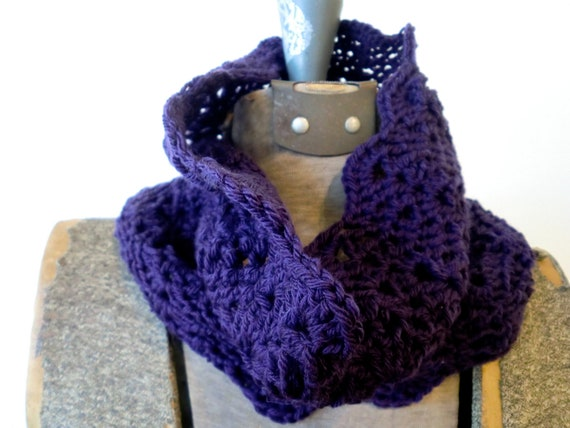 Rich Purple Neck Cowl - soft merino wool, autumn neck warmer