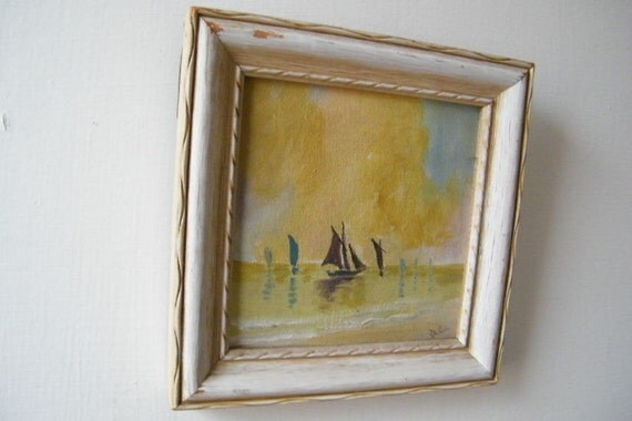 Vintage Miniature Painting of Sailboats on Water Pastel Colors Distressed Frame Cottage Colors