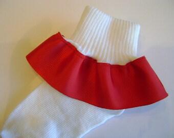 Red Ribbon Ruffle Socks
