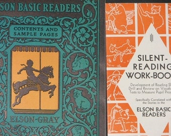 RARE 1930s Elson Basic Readers Contents and Sample Pages and Silent-Reading Work-Books pamphlet promotional booklet