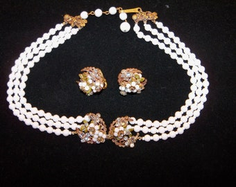 Antique Original by ROBERT Signed Necklace and Clip Earrings Set