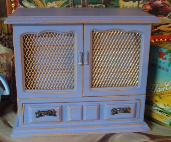 Periwinkle Blue, Lavender Jewelry Box, Chest of Drawer Style, Music Box