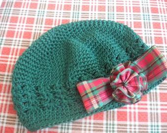 Green crochet hat - Christmas beanie - Plaid Christmas beanie - green crochet hat - chemo hats