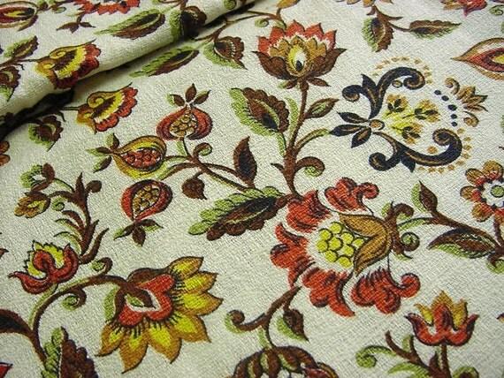 Vintage 50s Barkcloth Fabric Jacobean Floral Paisley