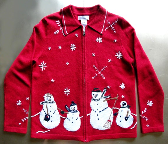 REDUCED Bargain Ugly Christmas Sweater with Snowmen All Around
