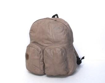 vintage LEATHER BACKPACK black multi pocket LARGE day pack club kid TRAINspotting bag