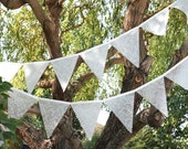 Large Wedding Bunting - Frosted Lace, Over Ten Feet Long - SugarOwlDesign
