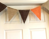 Burlap Bunting - Harvest in Tan, Brown, Orange