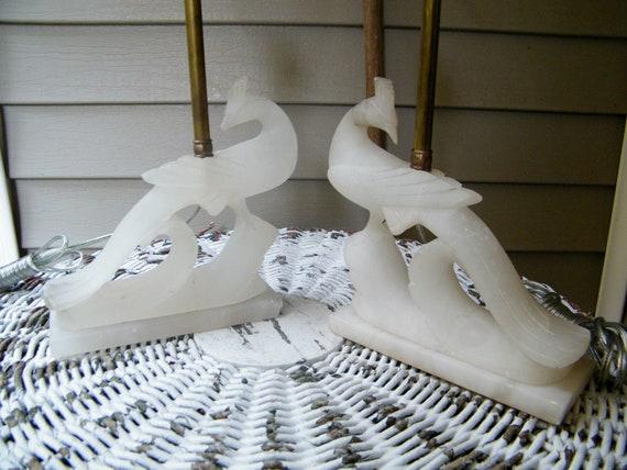 Alabaster Table Lamps / Pair / Peacocks