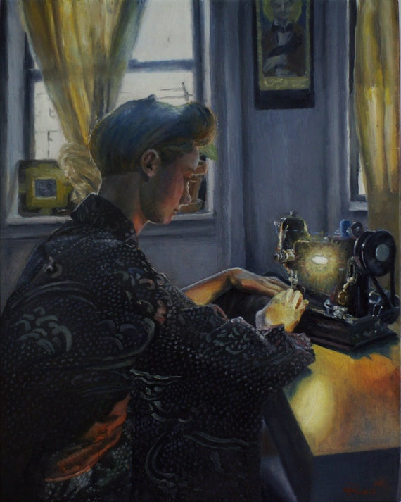The Seamstress -- oil painting on wood panel featuring vintage Singer Featherweight sewing machine.