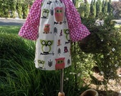 Owls print peasant dress long/short sleeves size 6mnth to 6 FREE SHIPPING