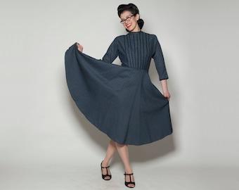 Vintage 1950s L'Aiglon Dress - Blue Full Skirt - Fall Fashions