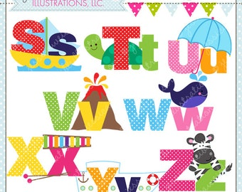 Illustrated Alphabet S-Z Cute Digital Clipart for Commercial or Personal Use, Alphabet Clipart, Alphabet Graphics