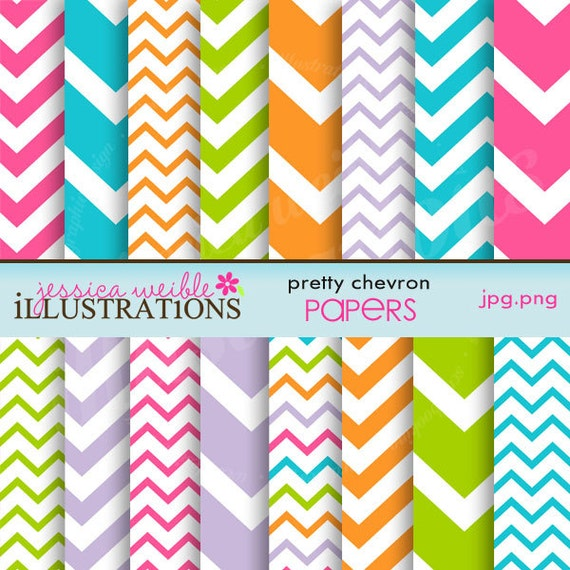 Pretty Chevron Cute Digital Papers for Card Design, Scrapbooking, and Web Design