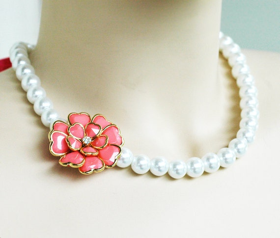 Burst of coral pearl necklace w ribbon tie wedding jewelry for Ribbon tie necklace jewelry