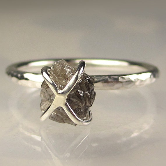 Rough Diamond Engagement Ring - Caged Diamond in Recycled Sterling