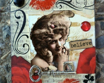 She Believes In Kisses A Collectable  AcEo  2.5 x 3.5 Etsy ACEO Alterehead On Etsy Victorian Woman Romantic ACEO Etsy Artwork Handmade