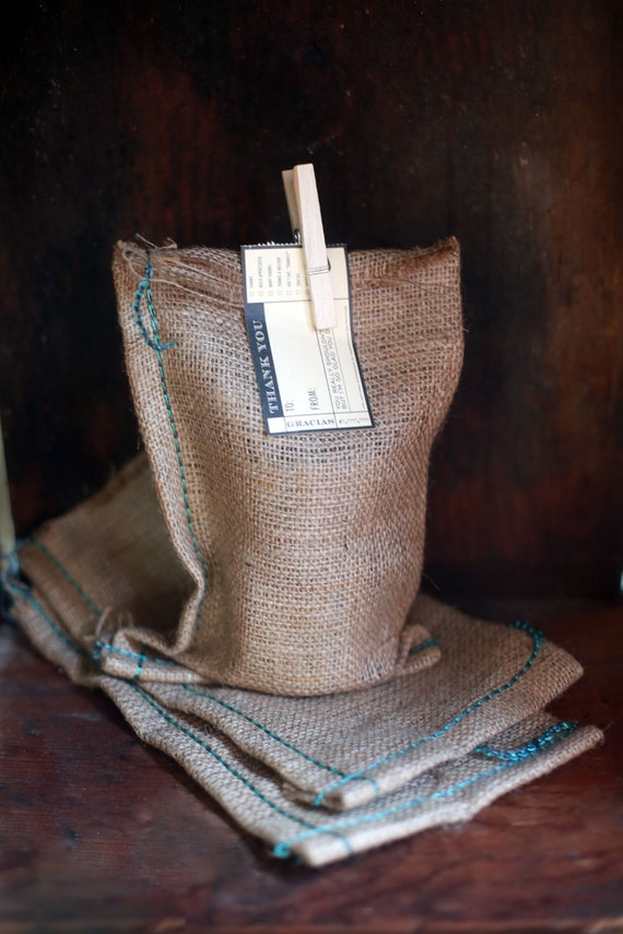 Set of 3- Natural Burlap Bags plain-  Size 5.5 in x 9.75 in