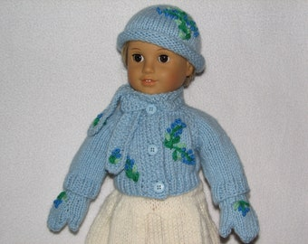 """18"""" Doll Sweater Hat Scarf Mittens -  Fits 15 inch to 18 inch Doll MADE TO ORDER"""