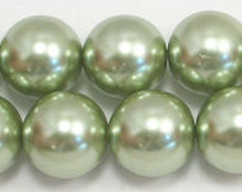 16mm Light Sage Glass Pearl Beads - 1 strand