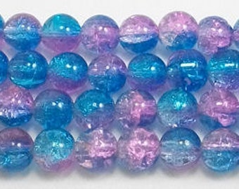 10mm Cotton Candy Crackle Glass (20)