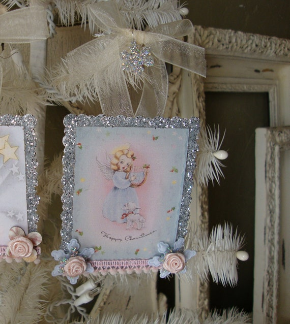 Shabby Pink Christmas Vintage Card ornament cute girl angel and lamb altered Mini sign glittered ornament