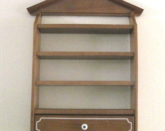 Vintage Wooden Wall Shelf / Shadow Box with Drawer