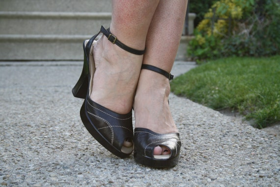 40s style peeptoe heels black 80s ankle straps grunge club size 9 size 10