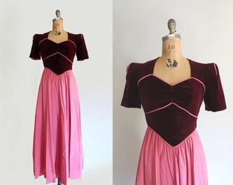 40s dress - vintage 1940s dress - 40s gown - velvet & taffeta - raspberry pink - basque waist - sweetheart - Small