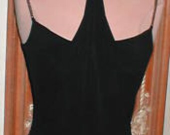 Vintage Black Jersey Evening Gown from France