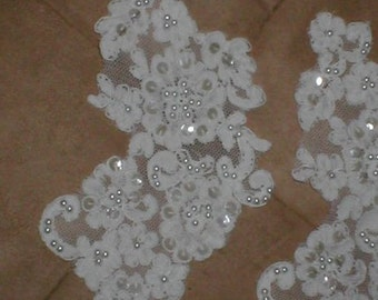 lot of 2 Large IVORY Beaded Alencon Lace Appliques