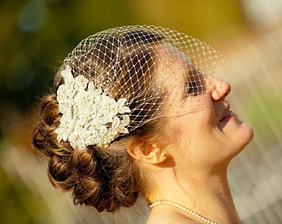 Champagne Birdcage Veil and Lace Bridal Fascinator, Gold, Vintage Style Bandeau Birdcage Wedding Veil and Lace Hair Clip - GENEVIEVE
