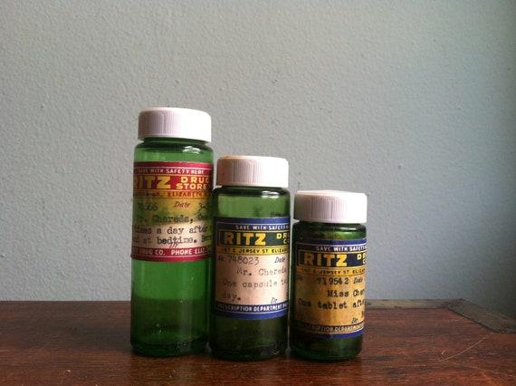 Vintage Trio of Pharmacy Prescription Green Glass Bottles