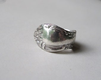 Spoon Ring Fine Silver Rose Size 6 6.5  7