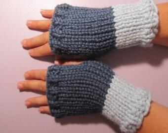Fingerless Gloves - Blue Hand Knit Fingerless Gloves