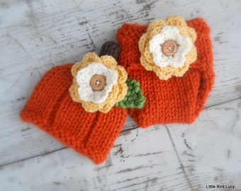 Pumpkin Hat Diaper Cover, Knit Baby Cap Knitted Newborn Infant Fall Photo Prop, Halloween, Removable Fall Flower, Autumn, Jack o lantern