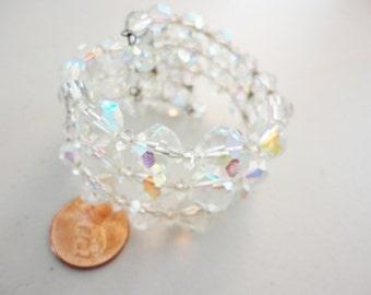 aurora borealis crystals memory bracelet 3 strands