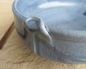 Ceramic Porcelain Bowl With Accent Wheelthrown in Variegated Blue, Handmade by Licia Lucas Pfadt