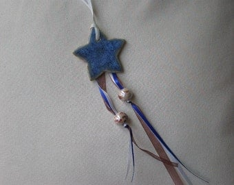 Ceramic Shooting Star Ornament with Ribbon and Beads
