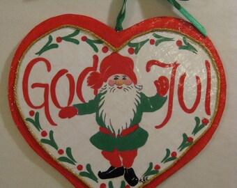 God Jul Tomte Wall Plaque Papier Mache'