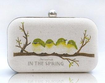 Branch Bird Box Clutch Hand Dyed Yellow Green Beige Ivory Cream Linen Bride Bridesmaid Wedding Gift Mori Girl Bag Country Styled Minaudiere