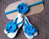 Baby Barefoot Sandals & Matching Headband