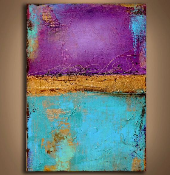 Large Textured Abstract painting purple and turquoise