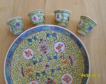 Yellow Chinese Porcelain Dish and Saki Cups or Tea Cups (5 pieces)