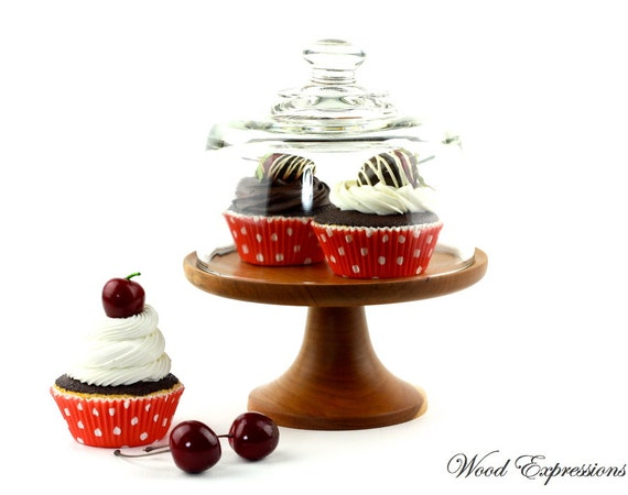 Wooden Cake Stand  with Glass Dome / Pedestal Stand